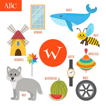 molinete: Letra W. Alfabeto de la historieta para los ni�os. Sand�a, ballena, lobo, reloj, molino de viento, perinola, rueda, avispa, ventana. ilustraci�n vectorial