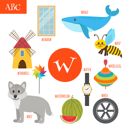 molinete: Letter W. Cartoon alphabet for children. Watermelon, whale, wolf, watch, windmill, whirligig, wheel, wasp, window. Vector illustration Vectores