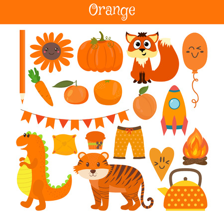 practice primary: Orange. Learn the color. Education set. Illustration of primary colors. Vector illustration