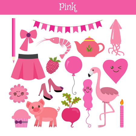 primary colors: Pink. Learn the color. Education set. Illustration of primary colors. Vector illustration