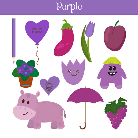 practice primary: Purple. Learn the color. Education set. Illustration of primary colors. Vector illustration