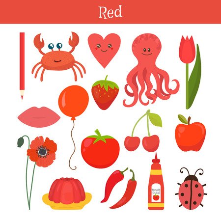 primary colors: Red. Learn the color. Education set. Illustration of primary colors. Vector illustration