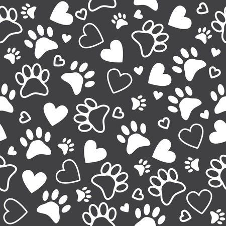 Seamless pattern with paw and heart prints. Cute animal footprint background. Vector illustration