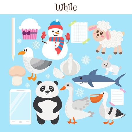 practice primary: White. Learn the color. Education set. Illustration of primary colors. Vector illustration Illustration