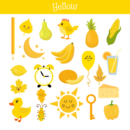 Yellow. Learn the color. Education set. Illustration of primary colors. Vector illustration