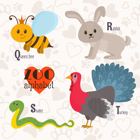 Zoo alphabet with funny animals. Q, r, s, t letters. Queen bee, rabbit, snake, turkey. Vector illustration