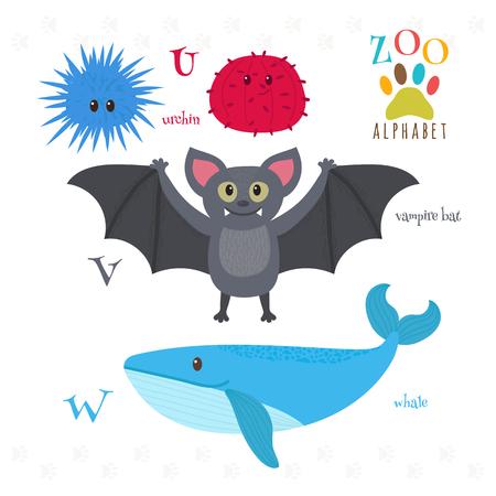 vampire bat: Zoo alphabet with funny cartoon animals. U, v, w letters. Urchin, vampire bat, whale. Vector illustration