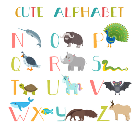 funny ox: Zoo. Cute cartoon animals alphabet from N to Z. Vector illustration