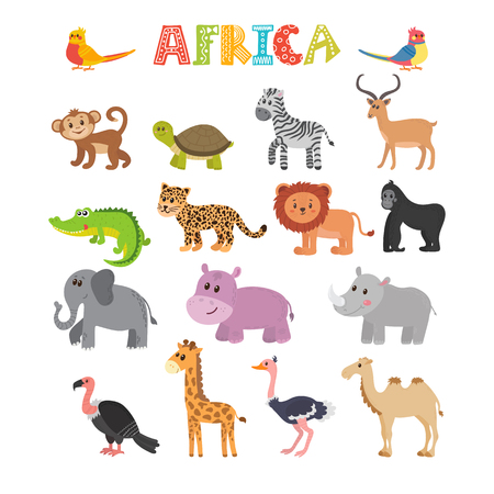 Animals of Africa. set of cartoon jungle animals. illustration Ilustracja