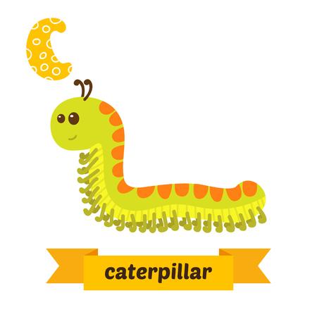 bookworm: Caterpillar. C letter. Cute children animal alphabet . Funny cartoon animals. illustration Illustration