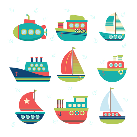 the hovercraft: Different kind of boats. Set of sea transport. Fishing boats, yachts and sailboats. illustration