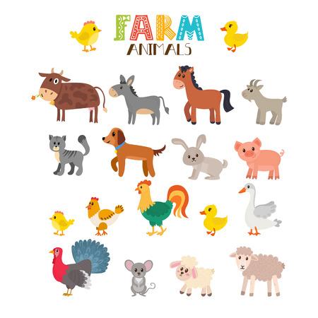 Landbouwhuisdieren instellen. Leuke cartoon dieren. illustratie