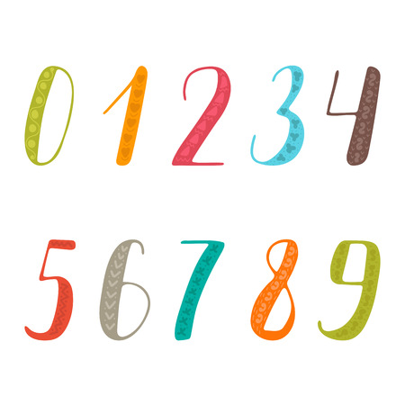 5.0: numbers set. Collection of colorful numbers. illustration