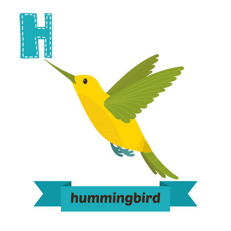 Hummingbird. H letter. Cute children animal alphabet