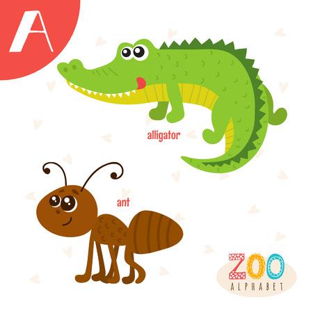 편지 A. 귀여운 동물. 재미있는 만화 동물. ABC 책.