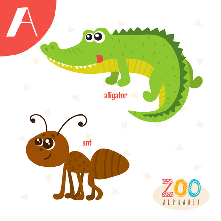 Letter A. Cute animals. Funny cartoon animals . ABC book.