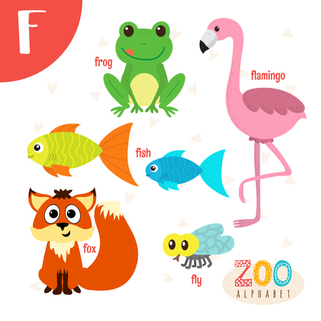 Letter F. Cute animals. Funny cartoon animals . ABC book. illustration Illusztráció
