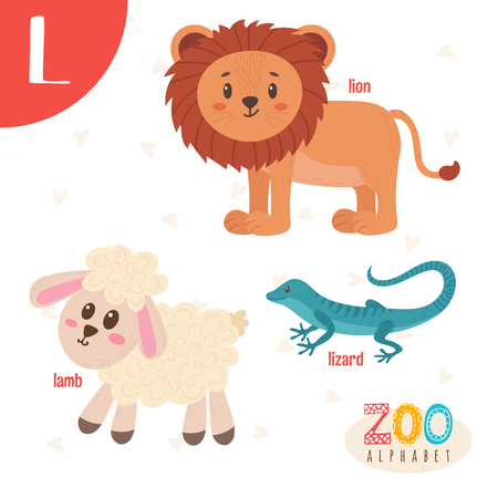 Letter L. Cute animals. Funny cartoon animals . ABC book. illustration Illustration