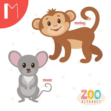 Letter M. Cute animals. Funny cartoon animals . ABC book. illustration