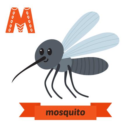 Mosquito. M letter. Funny cartoon animals  ABC book. illustration