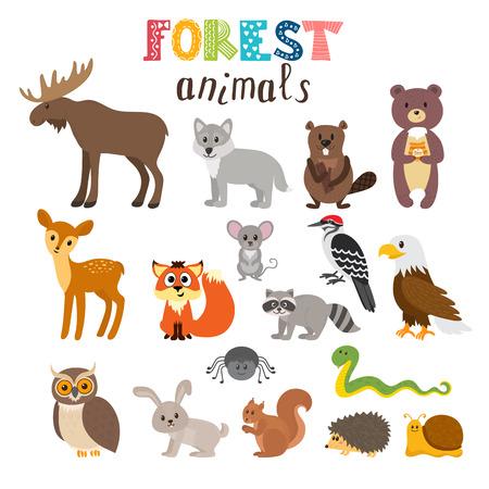 Set of cute forest animals. Woodland. Cartoon style. illustration