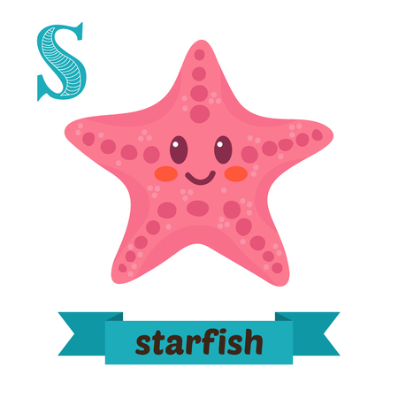 Starfish. S letter. Cute children animal alphabet . Funny cartoon animals. illustration