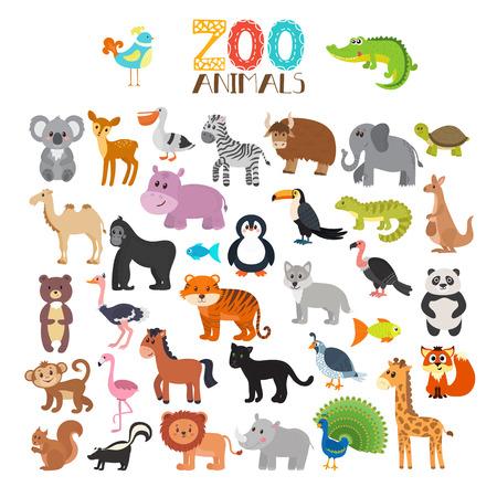 collection of Zoo animals. Set of cute cartoon animals. illustration