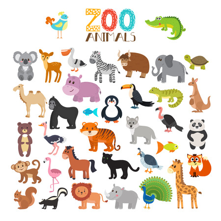 collection of Zoo animals. Set of cute cartoon animals. illustration