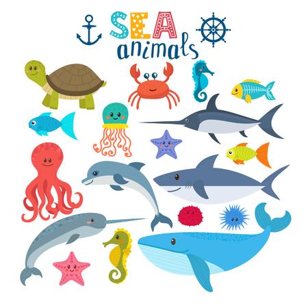 바다 생물의 집합입니다. 귀여운 만화 동물입니다. 삽화 일러스트