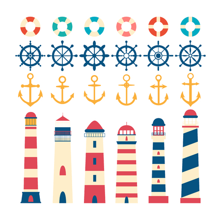Nautical set. Steering wheel, lighthouse, anchor and lifebuoy. Nautical elements in flat style.