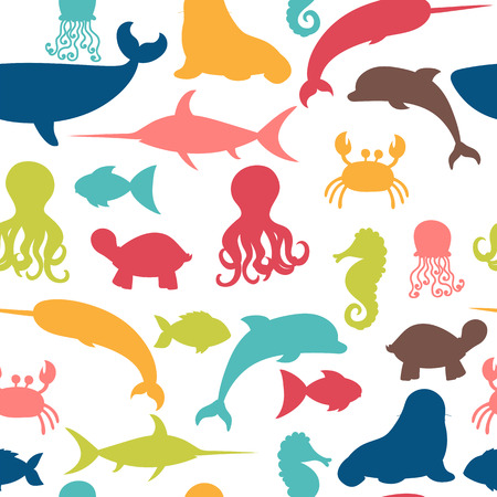 Underwater seamless pattern with fishes, octopus, crab, walrus, jellyfish, dolphin, seahorse, turtle and whale. Sea life.