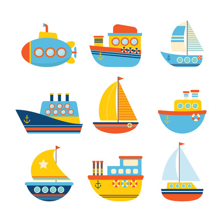 hovercraft: Set of sea transport. Different kind of boats. Fishing boats, yachts and sailboats.