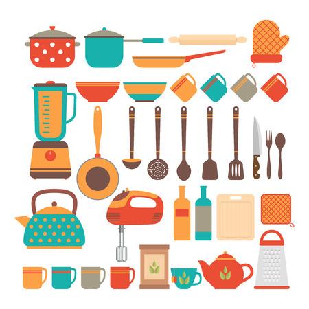 Big set of kitchen utensils. Home appliances for cooking. Vector illustration