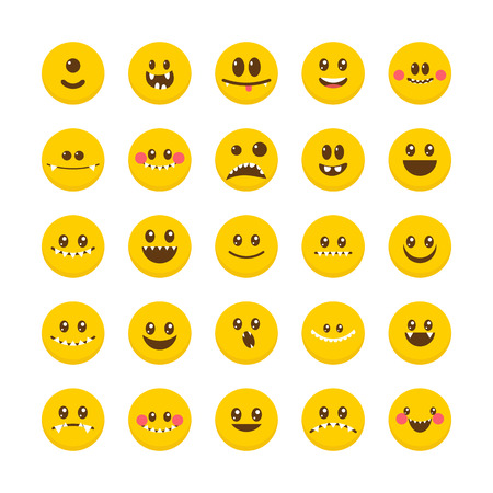 Cartoon faces with emotions. Set of cute monsters. Different Halloween characters. Emoticon emoji icons. Vector illustration