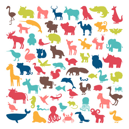 Big set of animals silhouettes in cartoon style. Wild life. Vector illustration Illustration