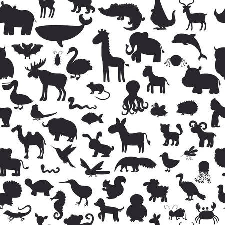 siluetas de animales: Seamless pattern with black animals silhouettes. Cute background. Vector illustration