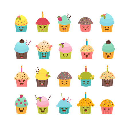 muffins: Set of cupcakes and muffins. Cute cartoon characters, emoji. Birthday icons of desserts. Kawaii cupcakes set. Vector illustration