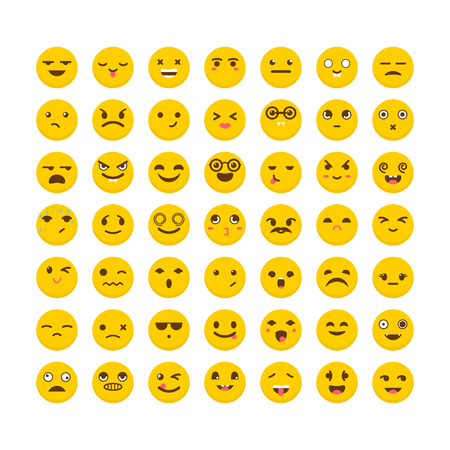 Set of emoticons. Big collection with different expressions. Cute emoji icons. Flat design. Vector illustration