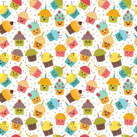 muffins: Birthday background. Kawaii cupcakes. Seamless pattern with cupcakes and muffins. Cute cartoon characters, emoji. Vector illustration Illustration