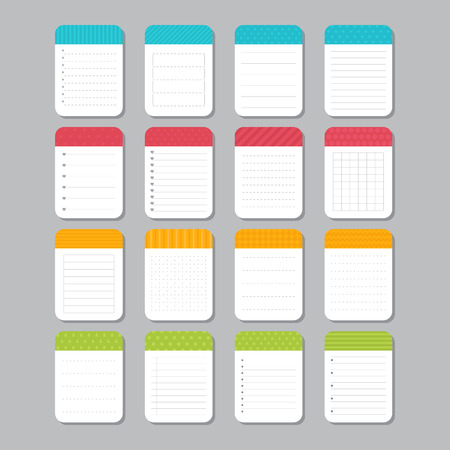 note pad: Sheets of paper. Collection of various note papers. Template notepad design. Vector illustration