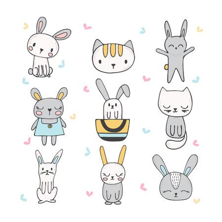 귀여운 손으로 그려진 된 토끼와 고양이의 집합입니다. 어린이 두들 스 및 재미있는 동물과 스케치의 컬렉션입니다. 벡터 일러스트 레이 션
