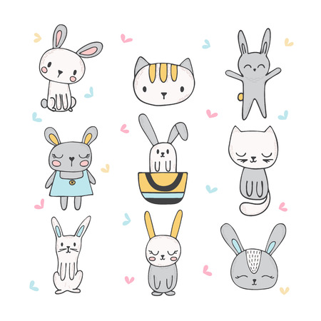 Set of cute hand drawn bunnies and cats. Collection of children doodles and sketches with funny animals. Vector illustration