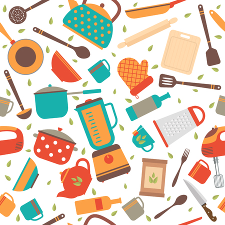Seamless pattern with kitchen tools. Cooking utensils background. Vector illustration Illustration