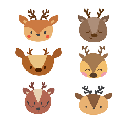 Set of cute deers. Funny doodle animals. Little fawn in cartoon style. Vector illustration Illustration