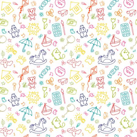 Naadloos patroon voor schattige kleine meisjes en jongens. Schets set tekeningen in kinderstijl.