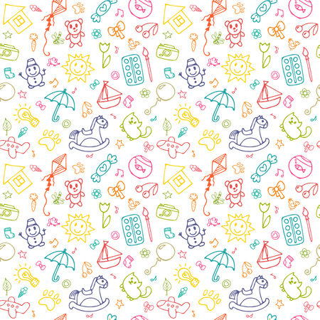Seamless pattern for cute little girls and boys. Sketch set of drawings in child style.