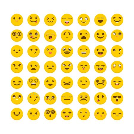 Set of emoticons. Cute emoji icons. Flat design. Funny cartoon faces. Vector illustration