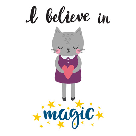 I believe in magic. Cute little kitty with heart. Romantic card, wedding invitation, greeting card or postcard. Illustration with beautiful cat. Vector illustration