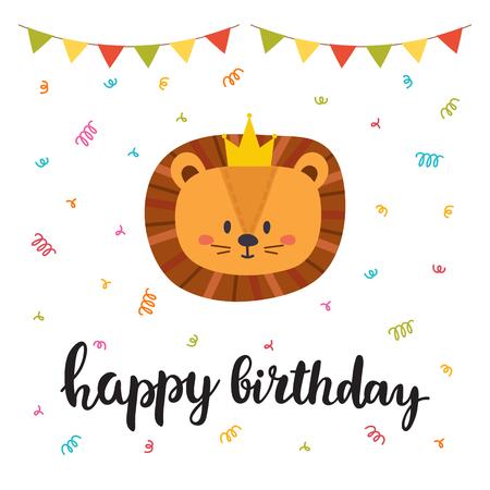 Feliz cumpleaños. Linda tarjeta de felicitación con gracioso pequeño León. Ilustración vectorial Ilustración de vector