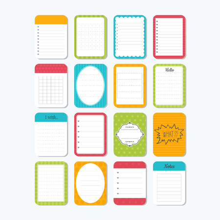 Template for notebooks. Cute design elements. Notes, labels, stickers. Collection of various note papers. Vector illustration Illustration